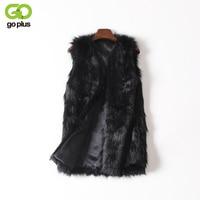 Women Brown Plus Size Faux Fur Vest Special Slim Long Fuax Fur Coat Women XXL Gilet