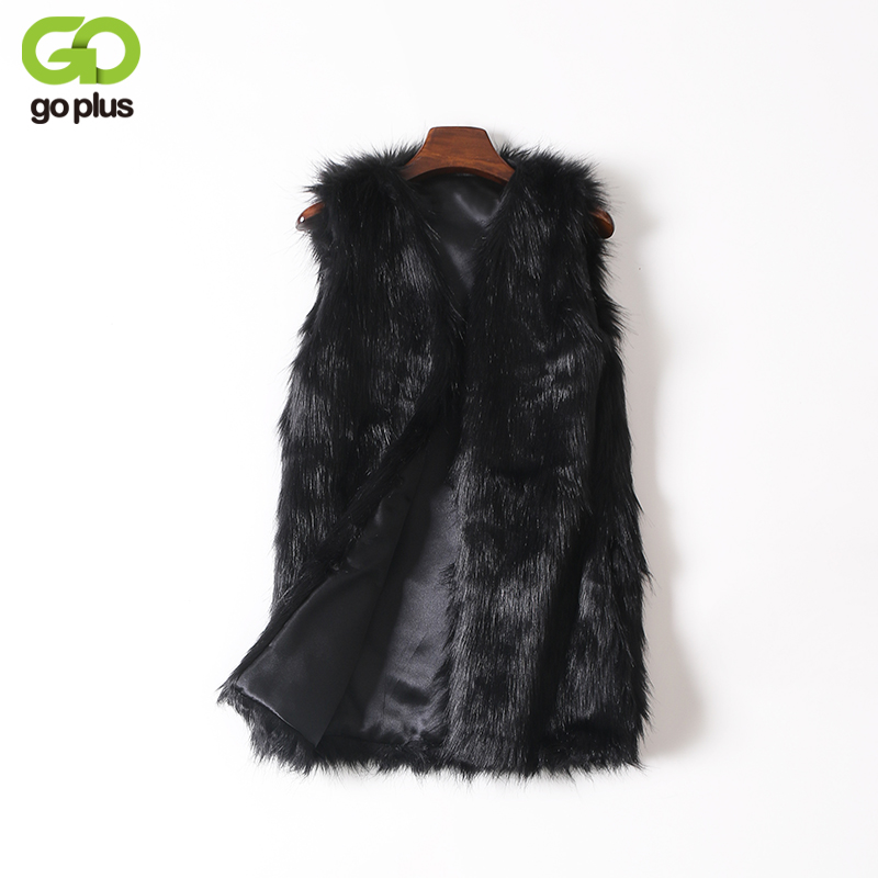 9a3e23075f7 GOPLUS Women Brown Plus Size Faux Fur Vest Slim Long Faux fur Coat Women  XXL Gilet Fourrure Rabbit Fur Femme Vest Long Coat