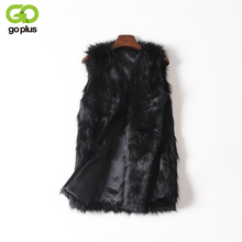 GOPLUS Women Brown Plus Size Faux Fur Vest Slim Long Faux fur Coat Women XXL Gilet Fourrure Rabbit Fur Femme Vest Long Coat(China)