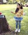 Новая коллекция весна осень 2014 летняя мода дети ребенок дети джинсовые марки джинсы юбка брюки брюки для девочек с кружевом розничной