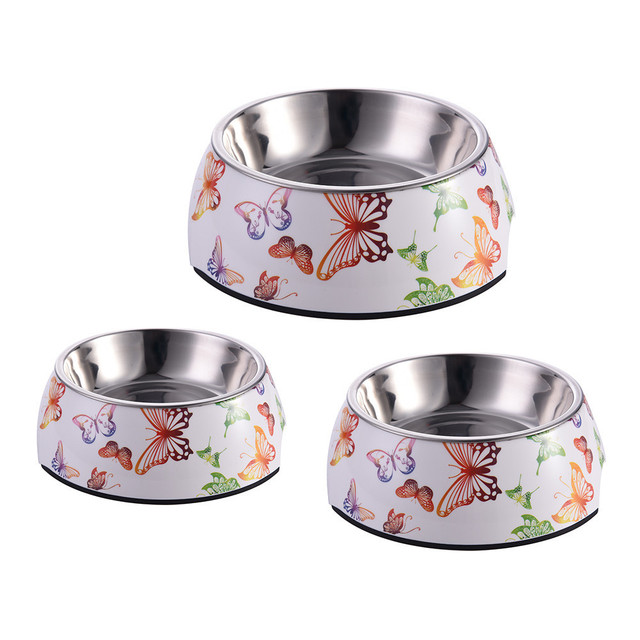 Stainless Steel Feeder Multiple Patterns Cat Food Storage S/M/L Sizes Water Drinker Pet Dog Food Bowls Container for Pet