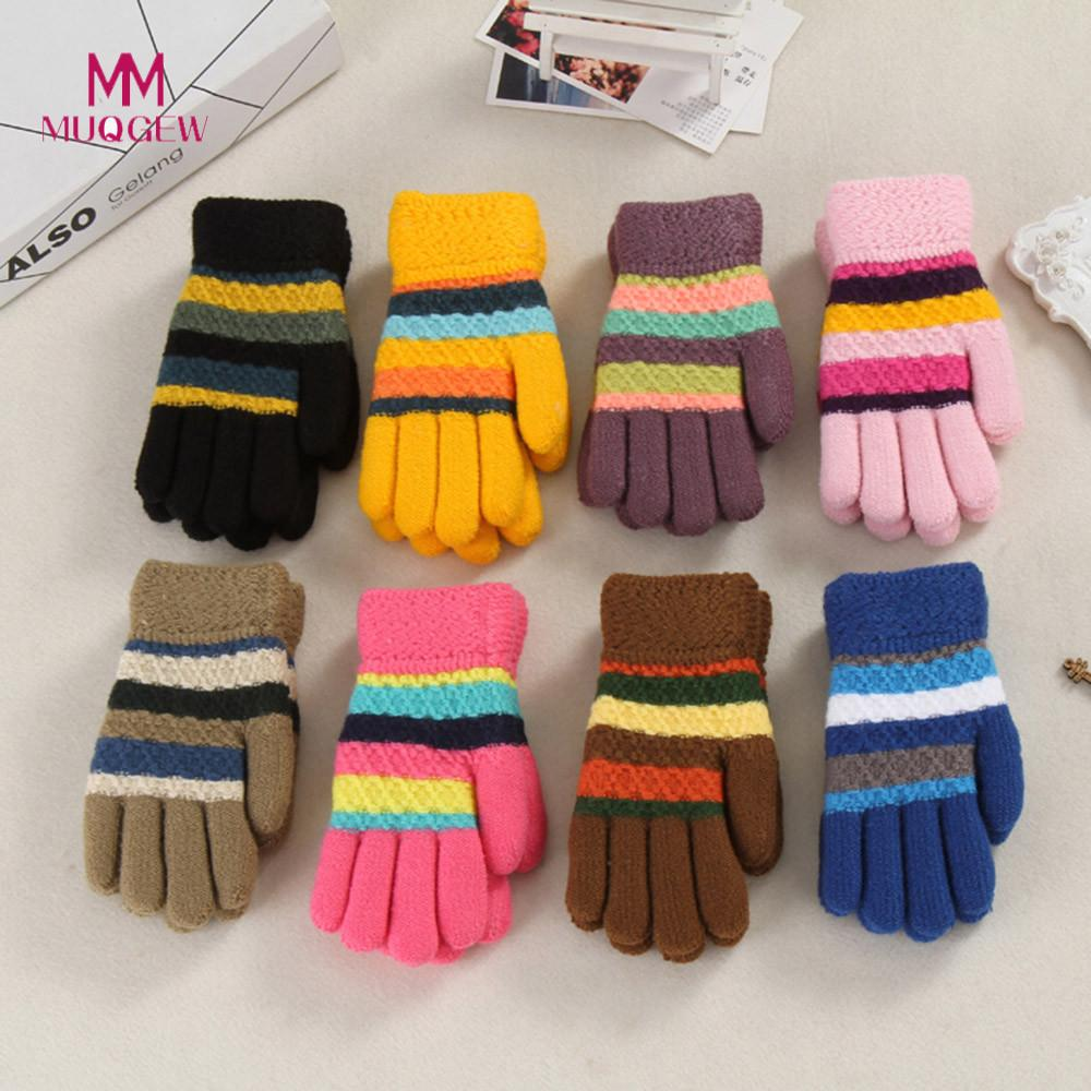 Gloves & Mittens Warm Winter Baby Kids Gloves Knitted Elastic Thickened Ski Casual Full Finger Mittens Gloves All-match For Children Soft And Antislippery
