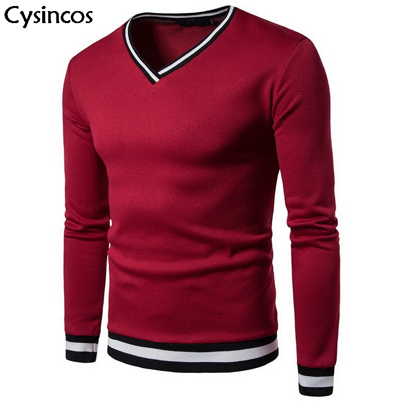 Cysincos Men Sweater 2019 Autumn Winter Casual V-neck Solid Thin Loose Sweater Male Long Sleeve Tracksuit  Knitted Top Plus Size