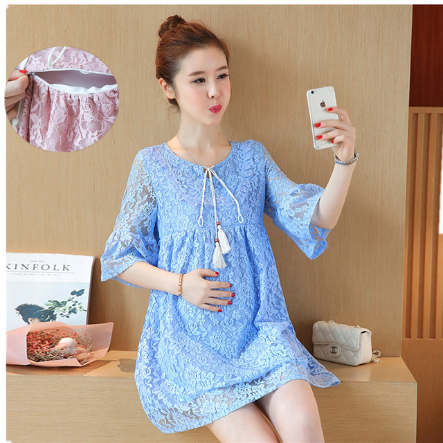 794234c45c6e8 Pregnant Women Solid Lace Short Dress Cute Luxury Pregnancy Clothes  Irregular Hem Long Sleeve Maternity Dresses Pink Sky Blue