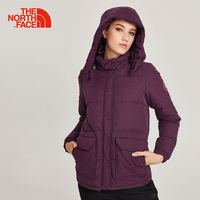 The North Face Grey Down Jacket for Women Hooded Comfortable Thermal Winter Coats Outdoor Sports Windproof Travel Clothes 3RGA