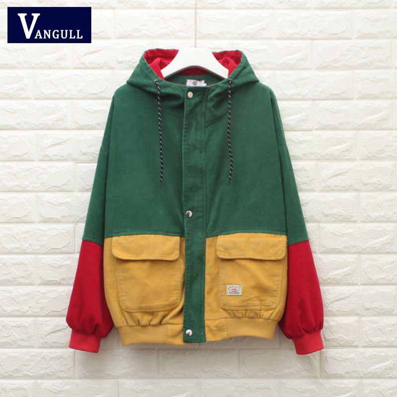 Winter Warm Color Block Hooded Corduroy Jacket Drawstring Hit Color Patched Pocket Thick Basic Women Coat Harajuku VANGULL 2018