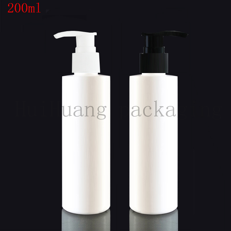 40pcs 200ml white cosmetic PET bottles empty shampoo lotion pump container plastic cosmetic packaging with dispenser
