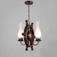 Continental Pendant Lights Mediterranean American Style Solid Wood Iron Rudder Restaurant Lamp Network Bar Cafe Lamps