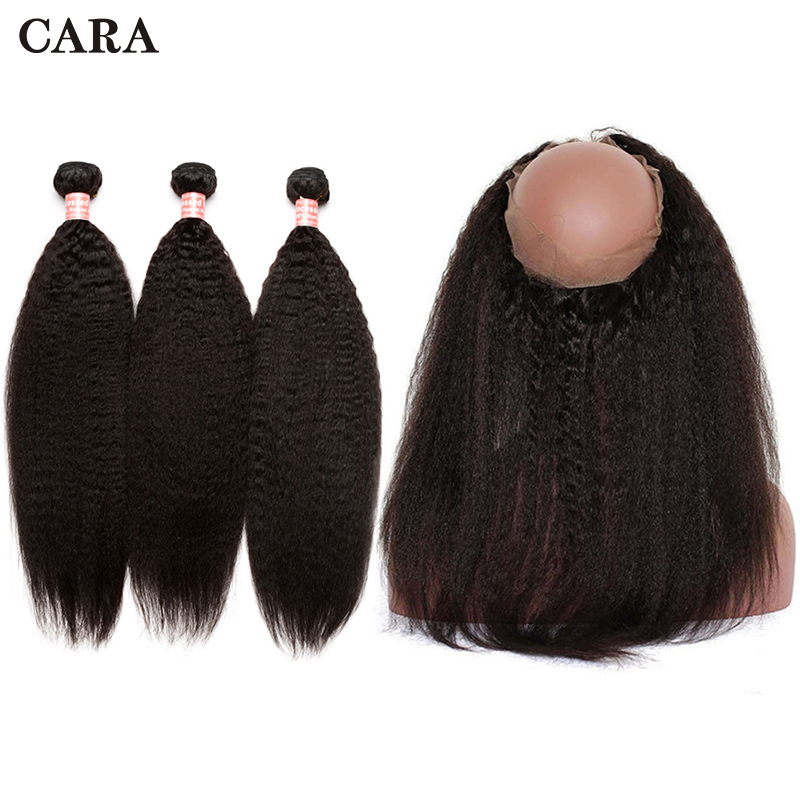 360 Lace Frontal With Bundles Kinky Straight Hair Extension 3 Bundles Brazilian Pre Plucked 360 Lace Frontal Closure Remy CARA