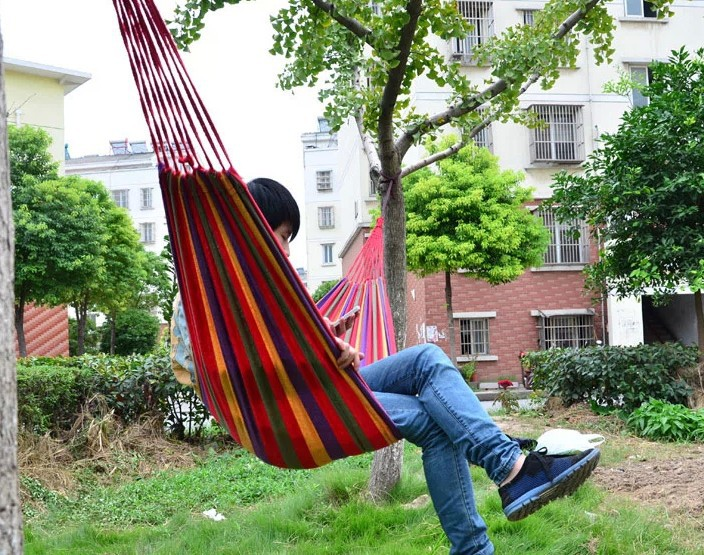 Outdoor Camping Single Hammock Swing thick canvas Leisure Hammock Tourism 200 80 CM Free Shipping