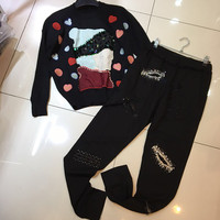 New Autumn Winter 2017 Embroidery Sequins Beaded Beads Cartoon Black Lady S Woollen Top Clothes