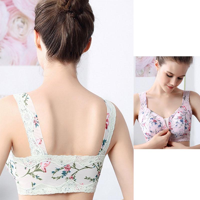 1829 No Steel Ring Sports Sleep Underwear Lace Beauty Back Front Buckle Zipper Bra Full Cup Gather Bra