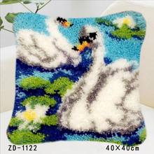 Tapete do Gancho da trava Kits Knooppakket Fronha Bordados Artesanato Animais Lona Knoopkussen Pakket Diy Needlework Travesseiro Cisne Branco(China)