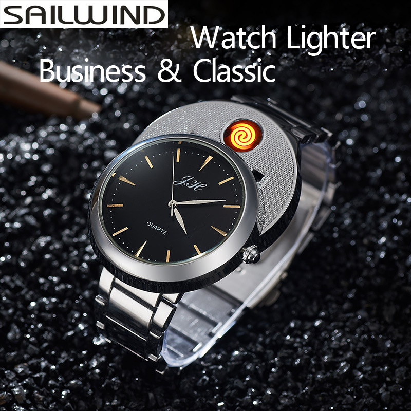 Windproof Flameless Cigarette Lighter date clock Electronic Men's Casual Quartz Wristwatches Rechargeable USB Lighter Watches f667 fashion rechargeable usb lighter watches electronic men s casual quartz wristwatches windproof flameless cigarette lighter