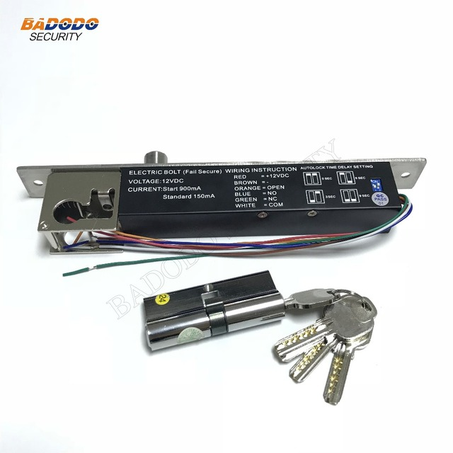 BL-2400 Fail Secure Electric Bolt Lock With Mort Lock Cylinder,DC12V,used for Wooden door,Glass door,Metal door (NO/NC)