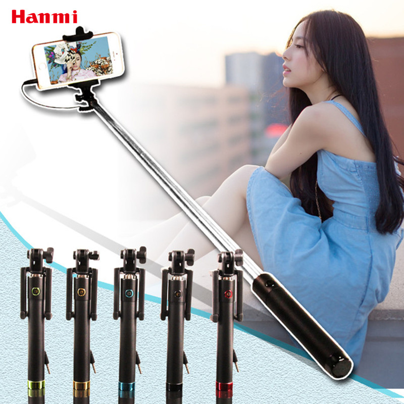 Super Mini Self Stick Monopod Wired Self-pole Selfie Stick Tripod Luxury Wired Portable Foldable Extendable Integrated Monopod super mini handy selfie stick universal handheld monopod self timer selfie pole for ios android black