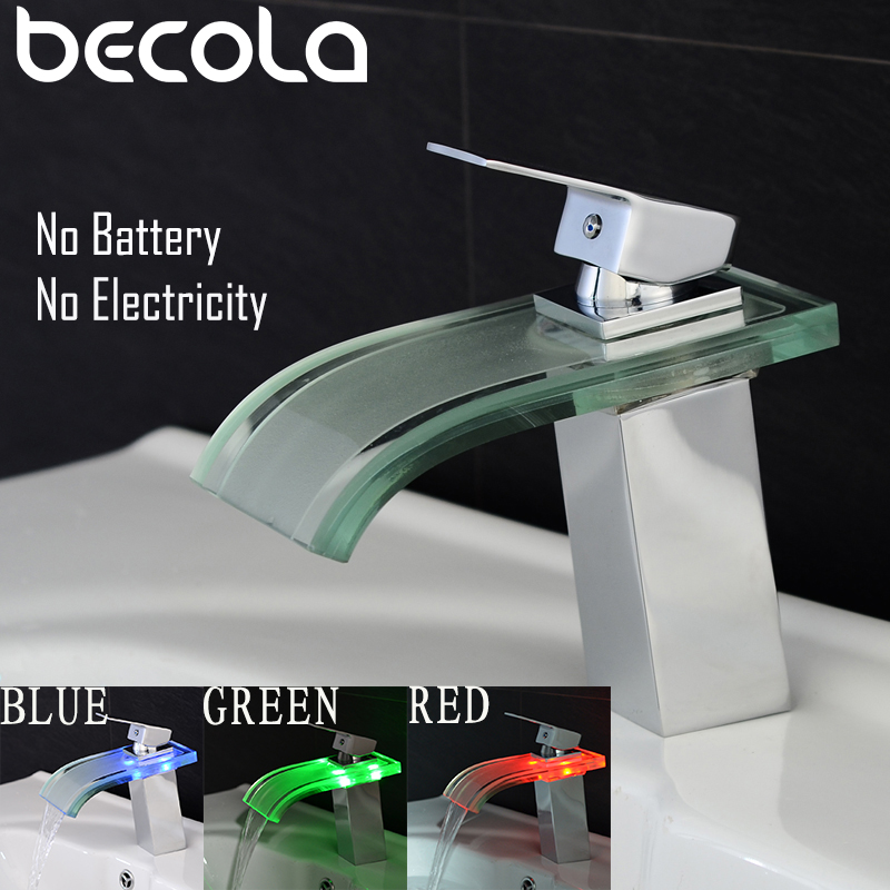 BECOLA Glass Brushed Nickel LED Basin Faucet Bathroom Brass Waterfall Faucet Basin Faucet Sink Mixer Sink Tap Led FaucetBECOLA Glass Brushed Nickel LED Basin Faucet Bathroom Brass Waterfall Faucet Basin Faucet Sink Mixer Sink Tap Led Faucet