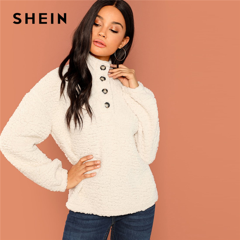 SHEIN White Casual Solid Button Front Half Placket Teddy High Neck Sweatshirt 2018 Autumn Going Out Women Sweatshirts