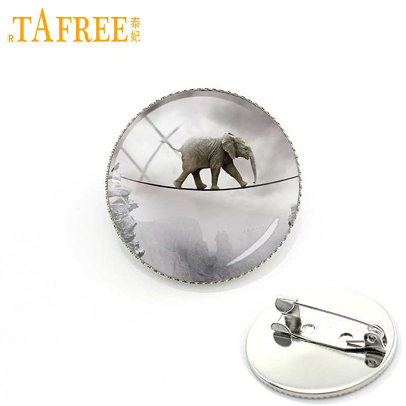 Tafree Magis Hewan Bros Gajah Berjalan Di Sepanjang Tali Pin Bulat Klasik Kubah Kaca untuk Perhiasan Pria Wanita A227