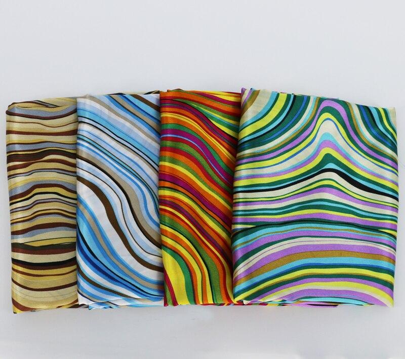 Мягкие полосы Геометрическая атласная ткань Подкладка шарфы игрушки Diy Материал сатин Текстиль