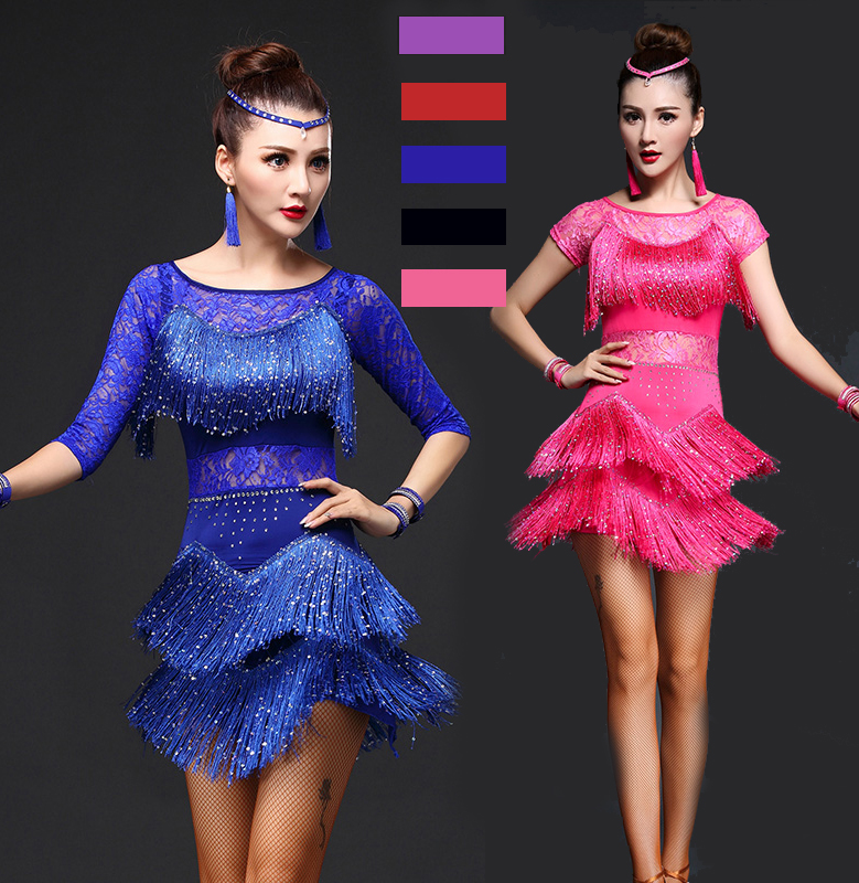 34d18e63ee91 Kids Sequins Stage Tassels Competition Latin Dance Dress Girls Gymnastics  Practice Party Dancing Dress Stage Dancewear costumes