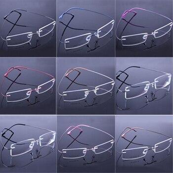 Fahion Retail 9 Colors Lightweight Rimless Glasses Frames Memory Titanium Eyeglasses Spectacle Prescription Optical Frames 2018