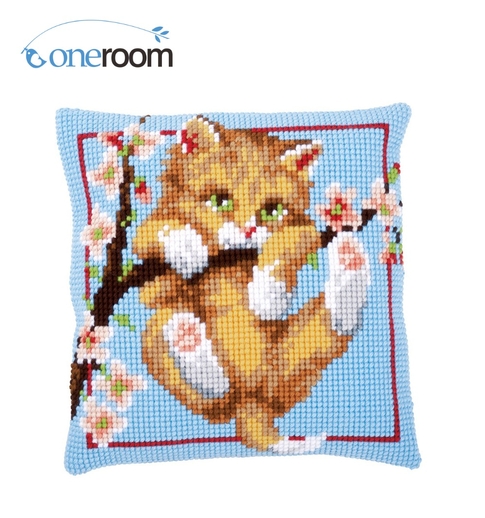 n3TH CX0778  Cat on Tree DIY Acrylic Yarn Embroidery Pillow Tapestry Canvas Cushion Front Cross Stitch Pillowcase