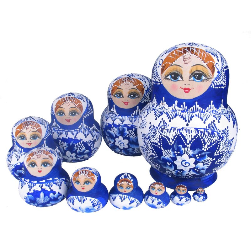 Beautiful Doll Wooden Toys Matryoshka Doll Kids Gift Russian Nesting Dolls Baby Toy Girl Doll 10pcs M09