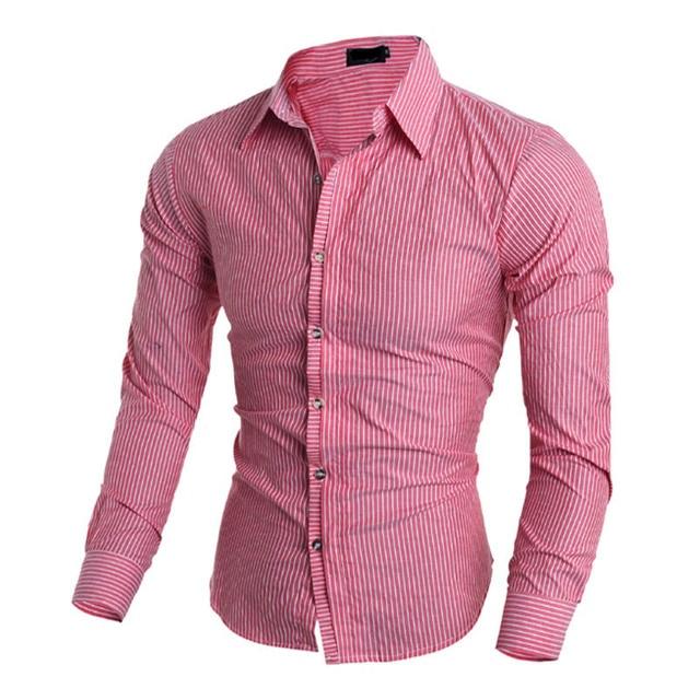 7015b1a6b1 Caliente 2018 hombres de negocios casual rayas manga larga camisa social  masculina camisetas juventud moda lavado