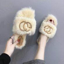 8e84a3d9b573 New Luxury Women Slipper Fur Home Ladies Slipper Flats Sweet Flip Flop Cute  Shape Outdoor Indoor Sandals Girls Spring Warm Shoes