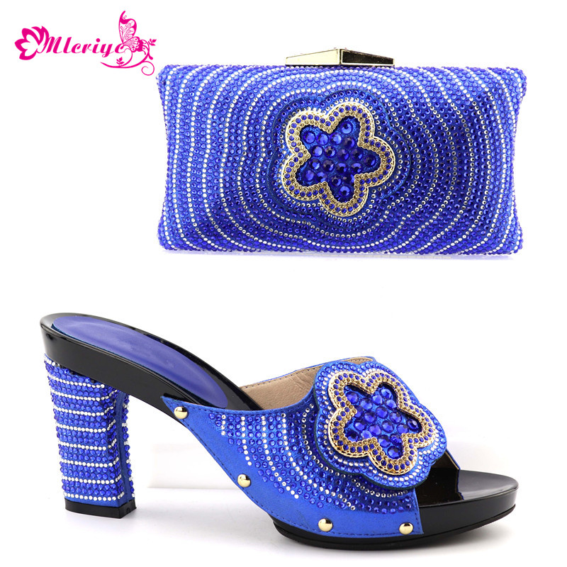 New Arrival Women Italian African Party Pumps Shoes and Bag Set Decorated with Rhinestone Matching Shoes and Bag Set In Heels цена