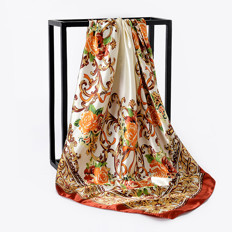 Fashion Women large soft satin scarf / Printed square silk scarves 90*90cm All purpose Covers Cloth Gifts Many Uses /Wholesale