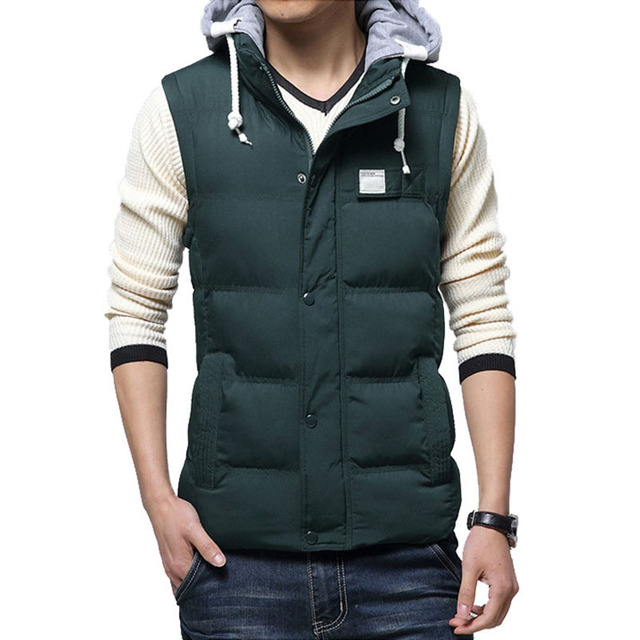 Fashion Brand 2017 New Arrival Men's Winter Casual Down Cotton Hooded Padded Vest Solid Men Down Vest Free Shipping WN 65