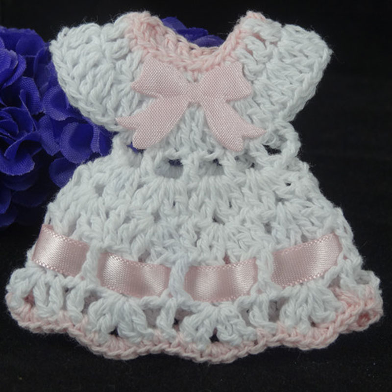 12pcs Miniature Crochet Sun Dress Pink Trim Baby Shower Baptism