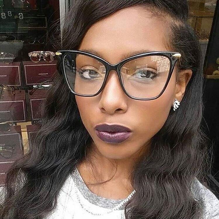 Women Trendy Alloy Leg Cat Eye Eyewear Frames High Quality Optical ...