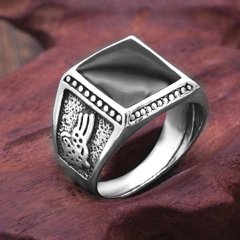 Retro Square Enamel Black Rings for Men 2018 New Arrival Fashion High Quality  Jewelry Party Gift