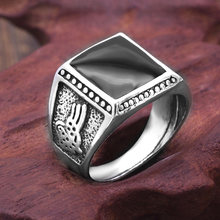 Retro Square Enamel Black Rings for Men 2018 New Arrival Fashion High Quality Jewelry Party Gift(China)
