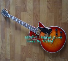 free shipping music instrument new electric guitar with mahogany body in orange +foam box F-1074