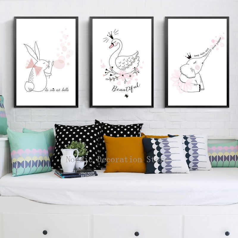 Лебедь Северный плакат кролик стены искусства холст живопись детская комната мультфильм животное пузырь принцесса плакаты и принты розовый без рамы