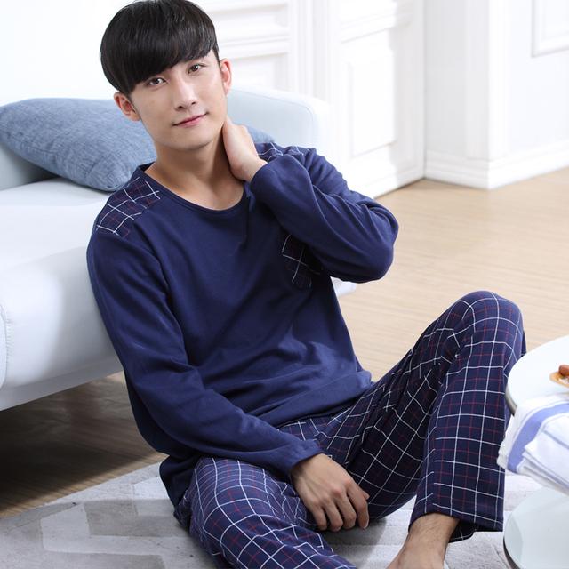 2016 otoño de los hombres de calidad superior pijama de algodón puro pijama pijamas ropa de noche masculina ocasional de la manga completa gira el collar abajo más grande