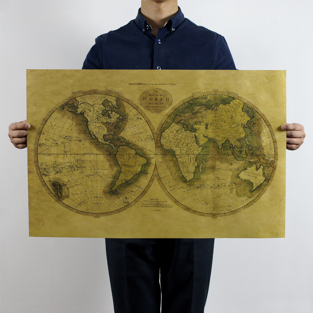 Aliexpress buy new world map poster nostalgic retro decorative new world map poster nostalgic retro decorative painting core kraft paper vintage home decor wall sticker gumiabroncs Choice Image
