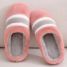 New Warm Cute strip Autumn Winter Woman Slippers Home Wear Sandals Flats Plus Size Comfortable Platform Wedges Shoes
