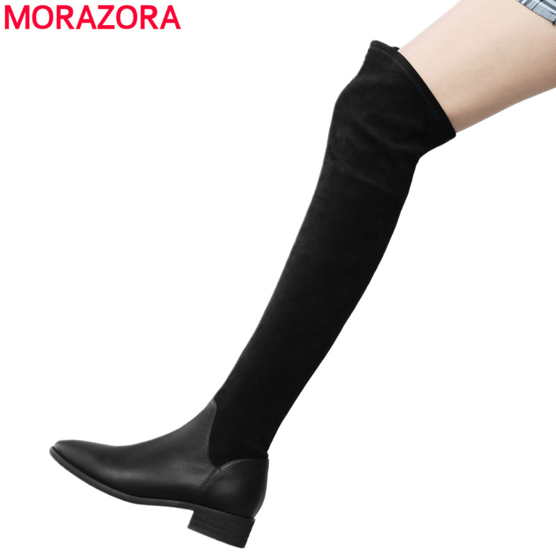 MORAZORA Plus size 34-43 New 2018 genuine leather boots women fashion stretch over the knee boots brand ladies thigh high boots morazora plus size 34 43 new high quality kid suede thigh high boots women shoes over the knee stretch spring autumn botas