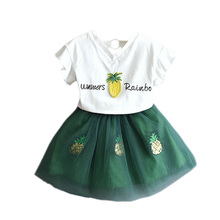 Cute Baby Girls Clothes Sets Summer Short Sleeve Rhinestone Sequin Pineapple Print T Shirts +Tutu Skirts 2Pcs Set Kids Gi
