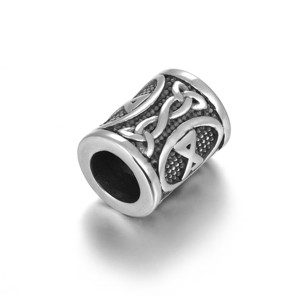 Stainless Steel Viking Beads with Rune for Hair Beards Large Hole 8mm Elder Futhark Rune Jewelry Bracelet Making DIY Accessories in Beads from Jewelry Accessories