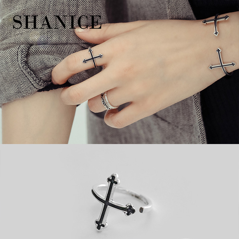 SHANICE Trendy Silver 925 Jewelry 100% Real 925 Sterling Silver Rings for Women Cross CZ Finger Ring Bague Femme