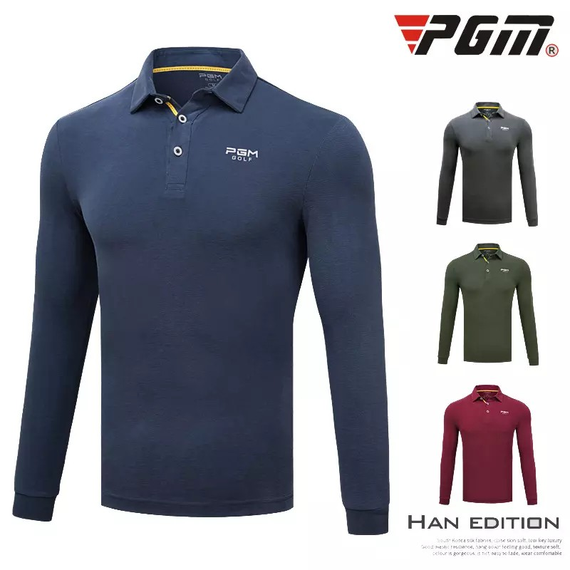 Pgm Golf Apparel Men Long Sleeved T-Shirt Autumn Winter Stand Collar Clothing Golf Uniforms Training Shirts For Men M-XXL D0486