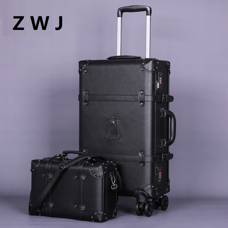 Pu Rolling Luggage Spinner Vintage Leather Suitcase on Wheel Women Trolley Travel Bag Men Trunk Luggage
