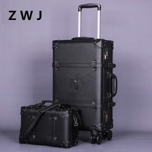 Полиуретановый чемодан на колёсиках, винтажный кожаный чемодан на колесиках, Женская дорожная сумка на колесиках, Мужская багажная сумка