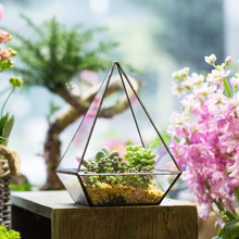 Gardening Indoor Bonsai Planter Tabletop Modern Polyhedrons Glass Geometric Terrarium Succulent Air Plant Flower Pot Decorative